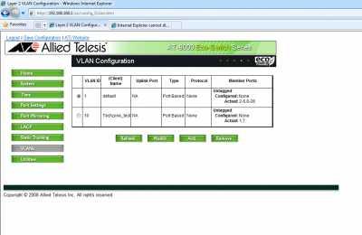 Interfata web - VLAN