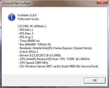 Furmark 640x480 Aspire 5735Z