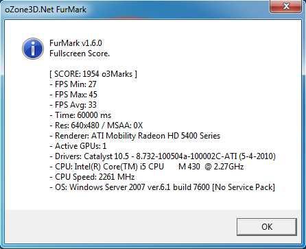 Furmark 640x480 Aspire 5741G