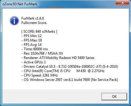 Furmark 1024x768 Aspire 5741G
