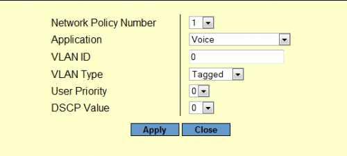lldp-med net policy add