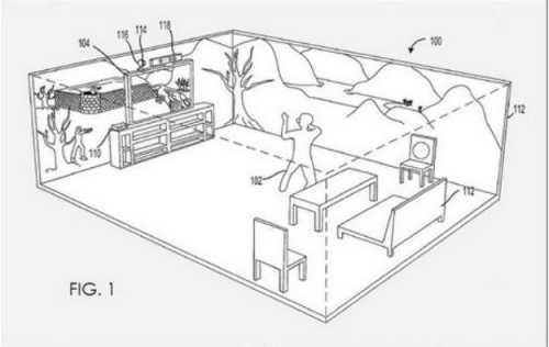 Patentul descrie aceasta imagine ca o demonstratie pentru cum ar putea proiectorul sa insereze imaginea in camera