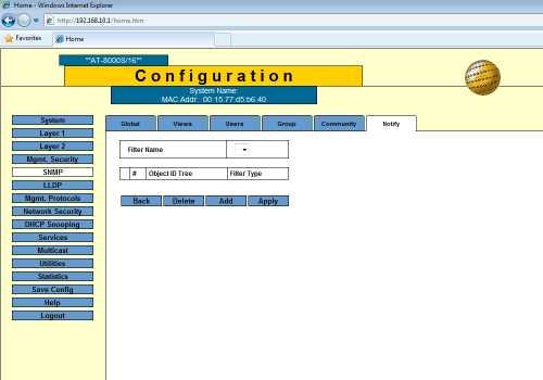 snmp notify configure