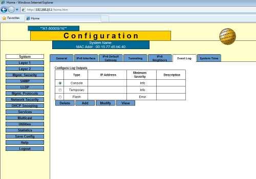 system event log