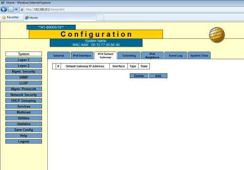 system ipv6 gateway