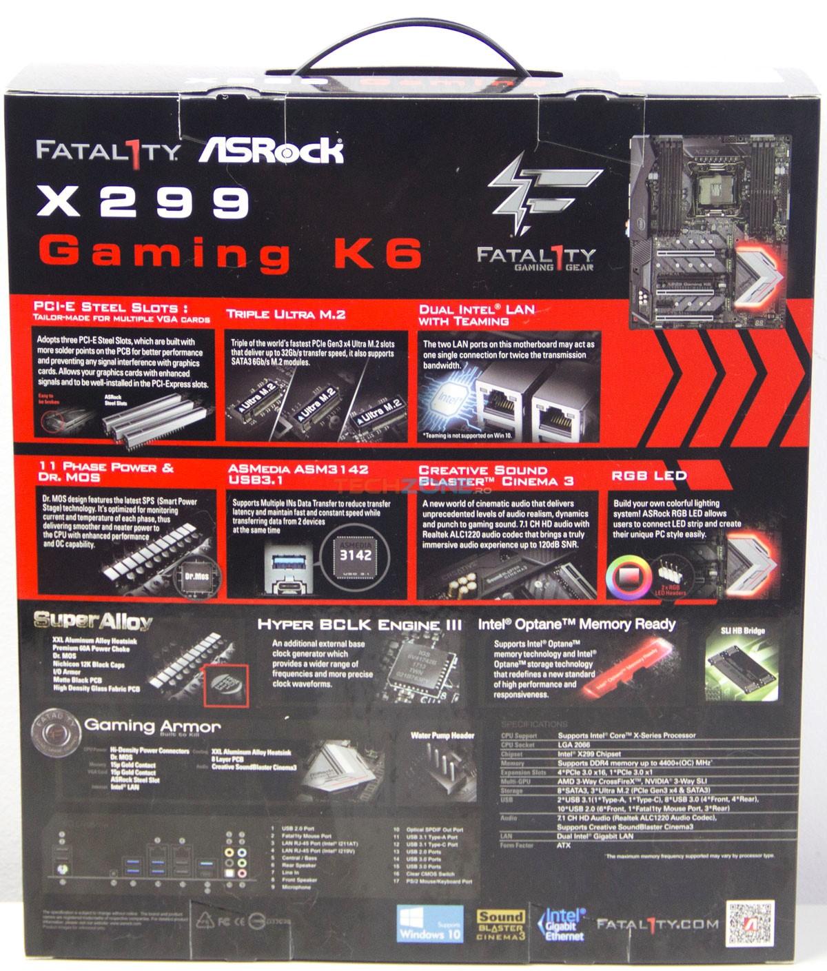 ASRock X299 Gaming K6 box back
