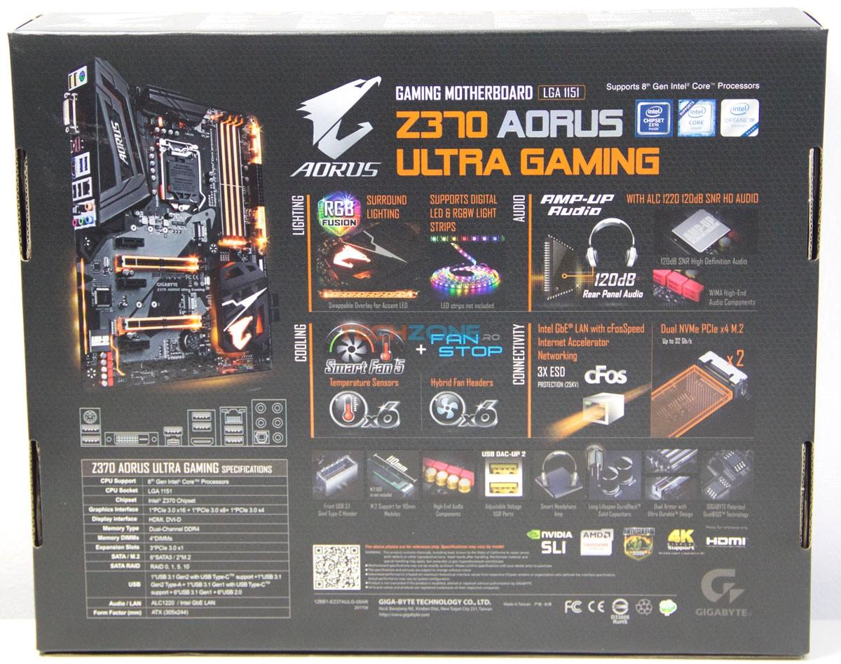 Gigabyte Z370 Ultra Gaming box back