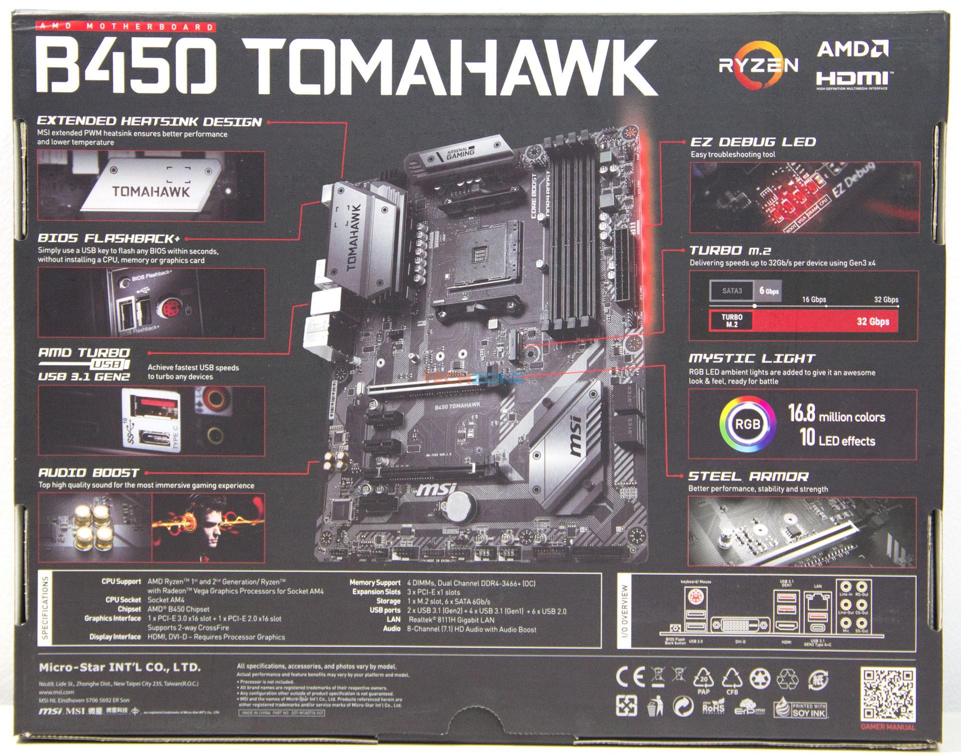 MSI B450 Tomahawk box back