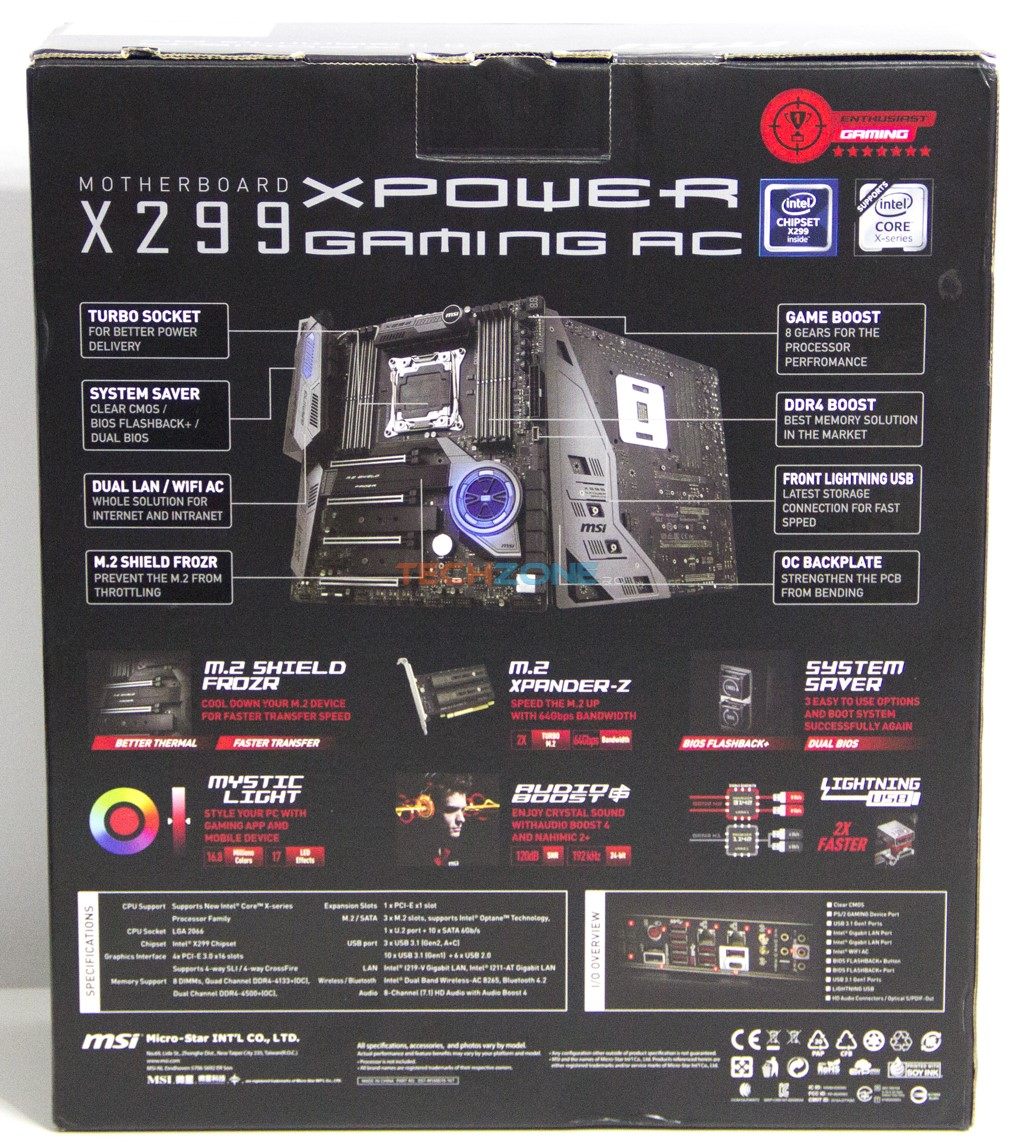 MSI X299 XPower box back