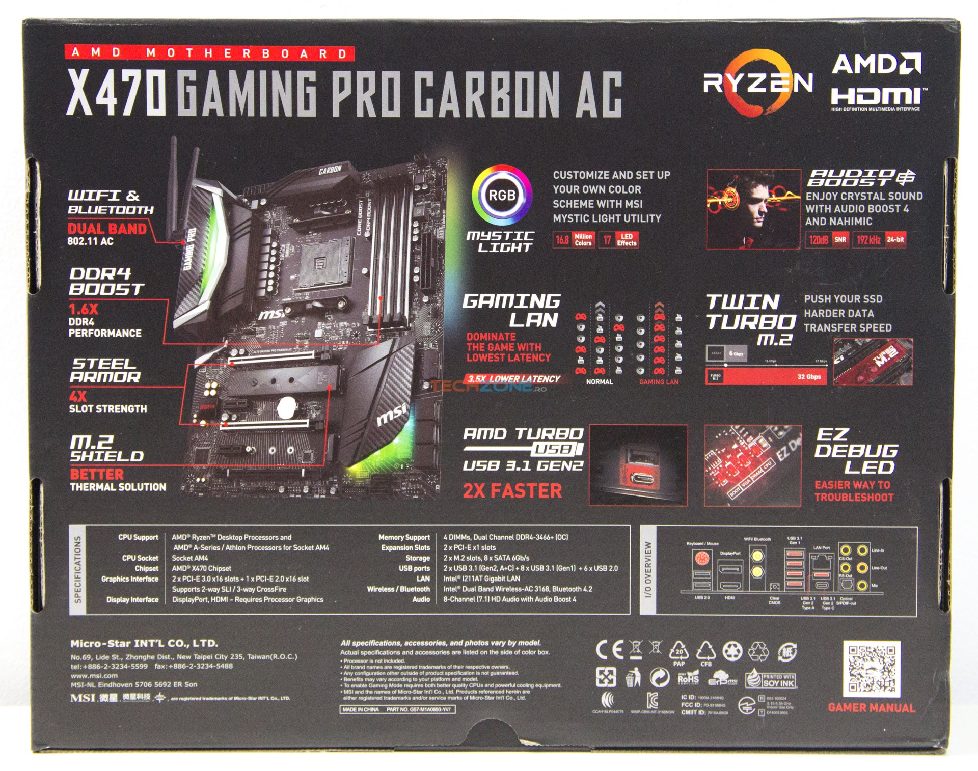 MSI X470 Gaming Pro Carbon AC box back