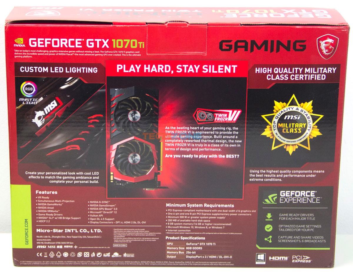 MSI GTX 1070Ti Gaming box back
