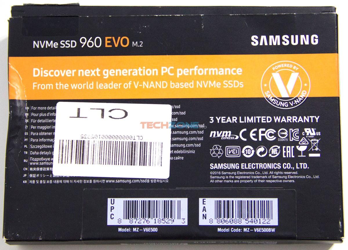 Samsung 960 Evo box back